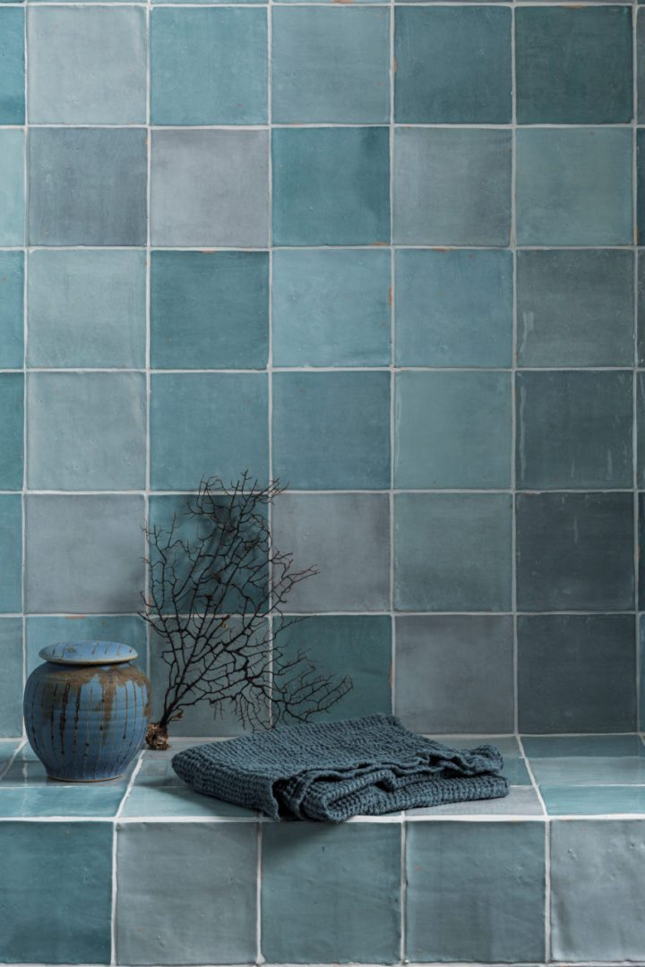 Zellige tile Nouveau Aqua Gloss from Mandarin Stone