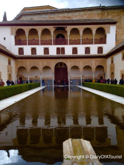 Courtyard of the Myrtles viewd from one end - the Charles V palace is behind the courtyard