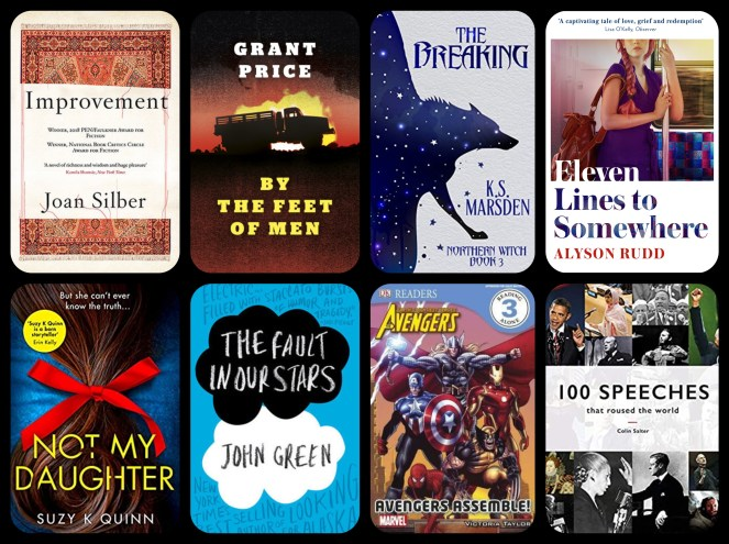 July TBR Improvement Joan Silber By The Feet of Men Grant Price The Breaking K.S. Marsden Eleven Lines To Somewhere Alyson Rudd Not My Daughter Suzy K Quinn The Fault In Our Stars John Green The Avengers