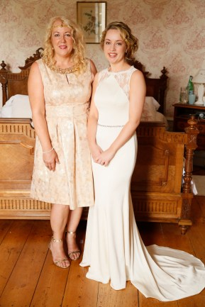 Mother of the bride and bride in France, bohemian black tie, Gold Jenny Packham Dress