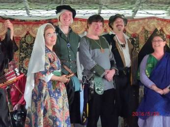 In order from left to right: Vivian, (at the time) Baronial A&S champ, Firebow, myself, and our don, Don Orlando Sforza