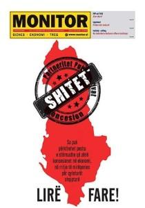Faqja e parë e Revistës ekonomike Monitor e datës 25 janar 2016 si shpjegues i gjendjes së ekonomisë shqiptare.