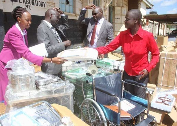 Uasin Gishu County health officials distribute medical equipment to hospitals on December 7, 2015. It has been revealed that reluctance on the part of Homa Bay County Government resulted in the holding of medical equipment in Mombasa port for 19 months. PHOTO | JARED NYATAYA | NATION MEDIA GROUP