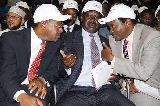 Cord principals from left Moses Wetangula, Raila Odinga and Kalonzo Musyoka. PHOTO | FILE
