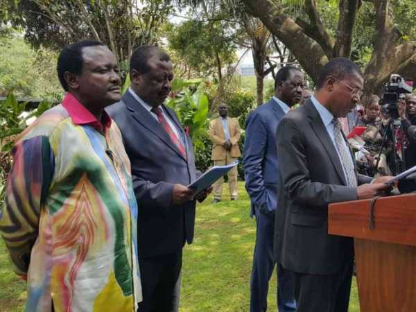 Leaders in the National Super Alliance address a joint press conference in Nairobi, January 31, 2017. /COURTESY
