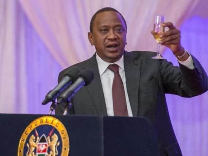 President Uhuru Kenyatta toasting./PSCU