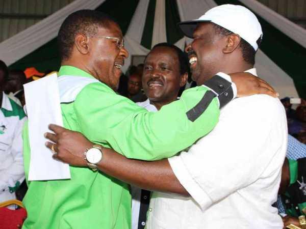 NASA principals Moses Wetang'ula (Ford-K), Musalia Mudavadi (ANC), and Kalonzo Musyoka (Wiper) during a past rally at Bomet. /KEN ANDIEMA