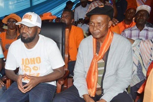 Mombasa Governor Hassan Joho (center) and his Taita Taveta counterpart John Mruttu