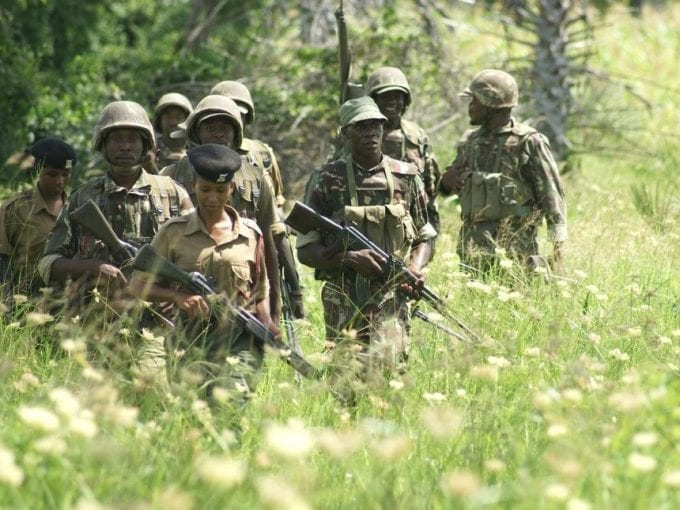 A file photo of security officers carrying out a patrol in Boni Forest near Mpeketoni in Lamu.