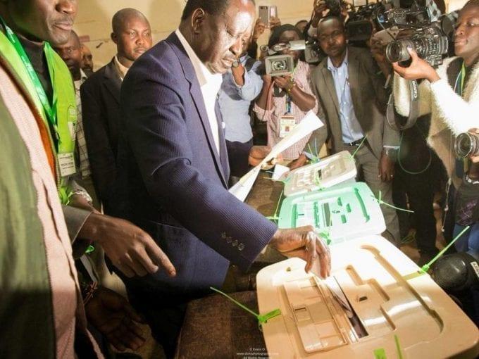 NASA presidential candidate Raila Odinga deposits ballot papers at Kibera primary school, August 8, 2017. /ODM