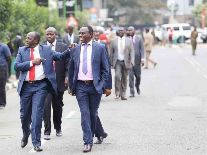 Juja MP Francis Waititu and his Machakos Town counterpart Victor Munyaka walk along Parliament Road to the opening of the 12th Parliament, September 12,2017. / HEZRON NJOROGE