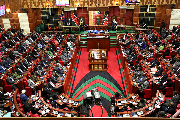 A joint session of Parliament and Senate during an address by President Uhuru Kenyatta to both houses on March 27, 2014. The stage appears set for a major political duel between the Presidency and the National Assembly over the war on corruption, after the President hinted that he would not automatically back MPs' decision to sack top anti-corruption officials. FILE PHOTO | BILLY MUTAI | NATION MEDIA GROUP