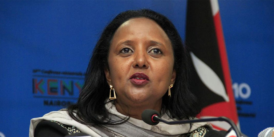 Amina Mohamed (pictured), the Foreign Affairs secretary, did not respond to questions on the transaction. FILE PHOTO | NMG