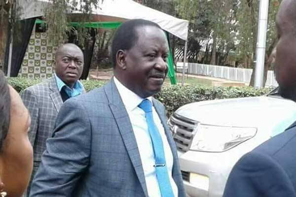 Nasa flag bearer Raila Odinga arriving at Bomas