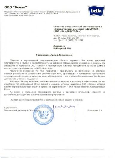 Отзыв от ООО «Белла», генеральный директор Ковальчик М.К.