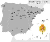 Las últimas Cortes del siglo XVIII se celebraron en Madrid. Estas eran las ciudades con representación. Castilla, Aragón y Cataluña estaban sobre representadas. Andalucía y el norte infra representadas