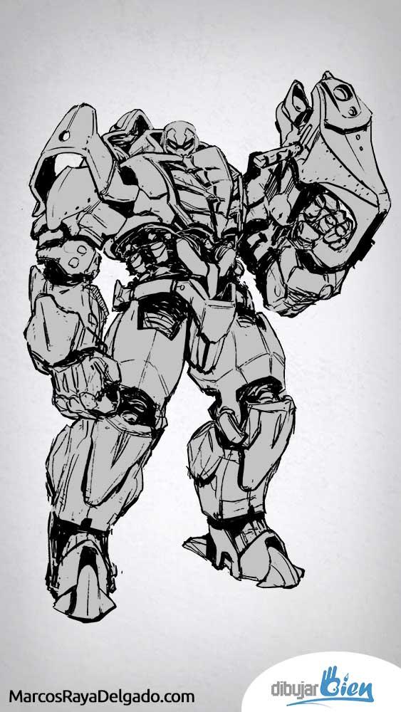 Dibujar con Photoshop un Robot. D-52 - https://dibujarbien.com