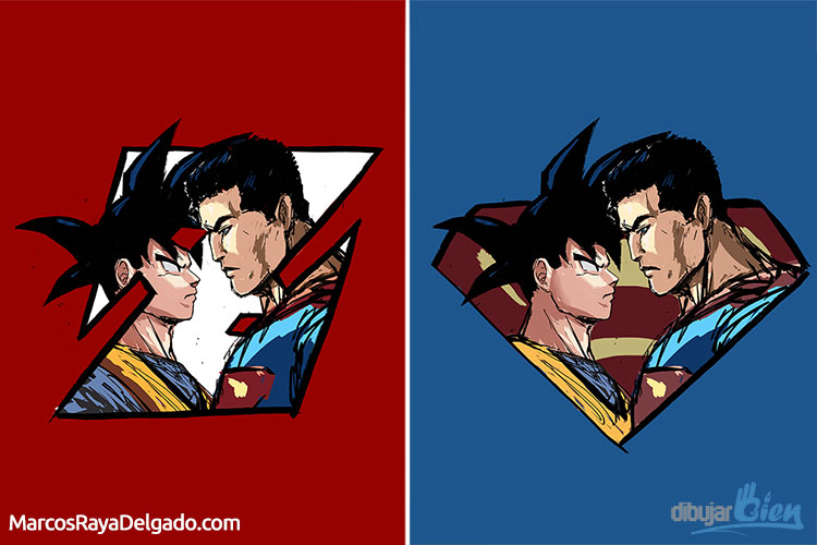 how to draw goku vs superman