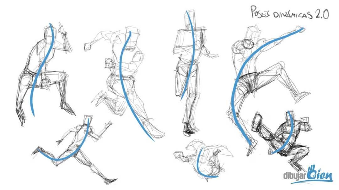 Truco para aprender a dibujar personas: La línea de movimiento ...