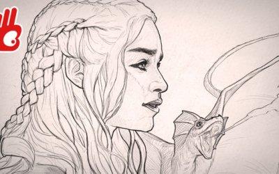 Dibujo retrato de Daenerys Targaryen, pincel efecto lápiz