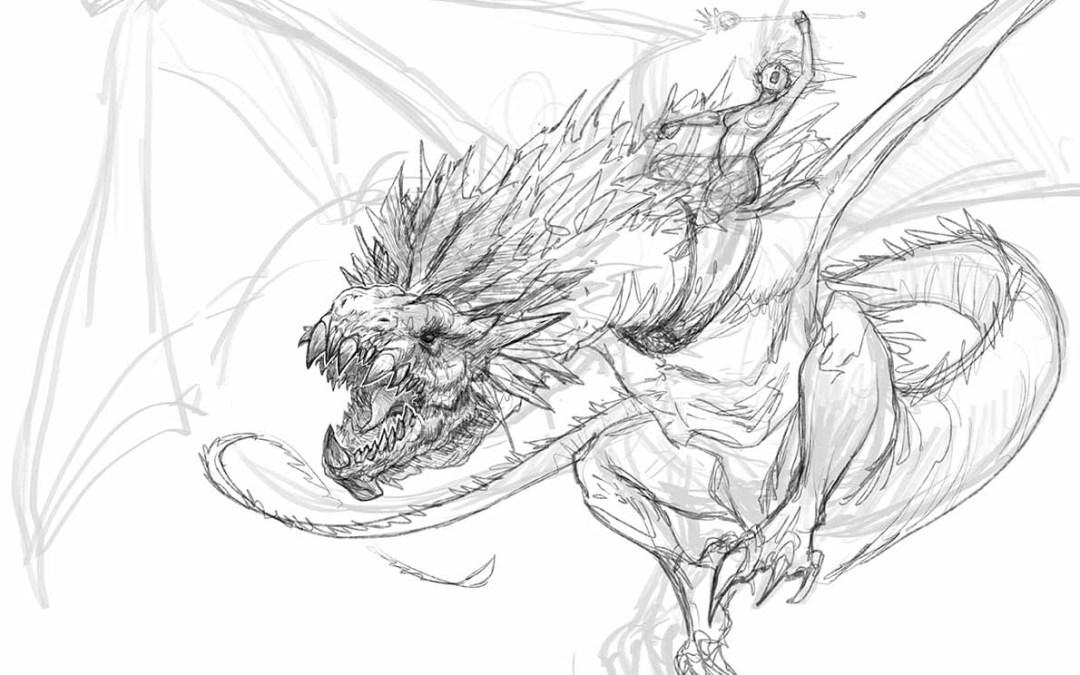 Cómo dibujar un dragón #Desafio52 Jinete de dragón
