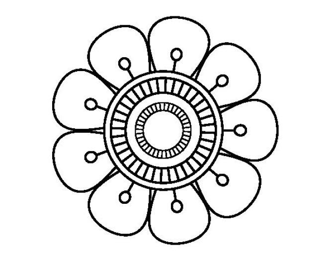 Imagen de flor mandala para colorear