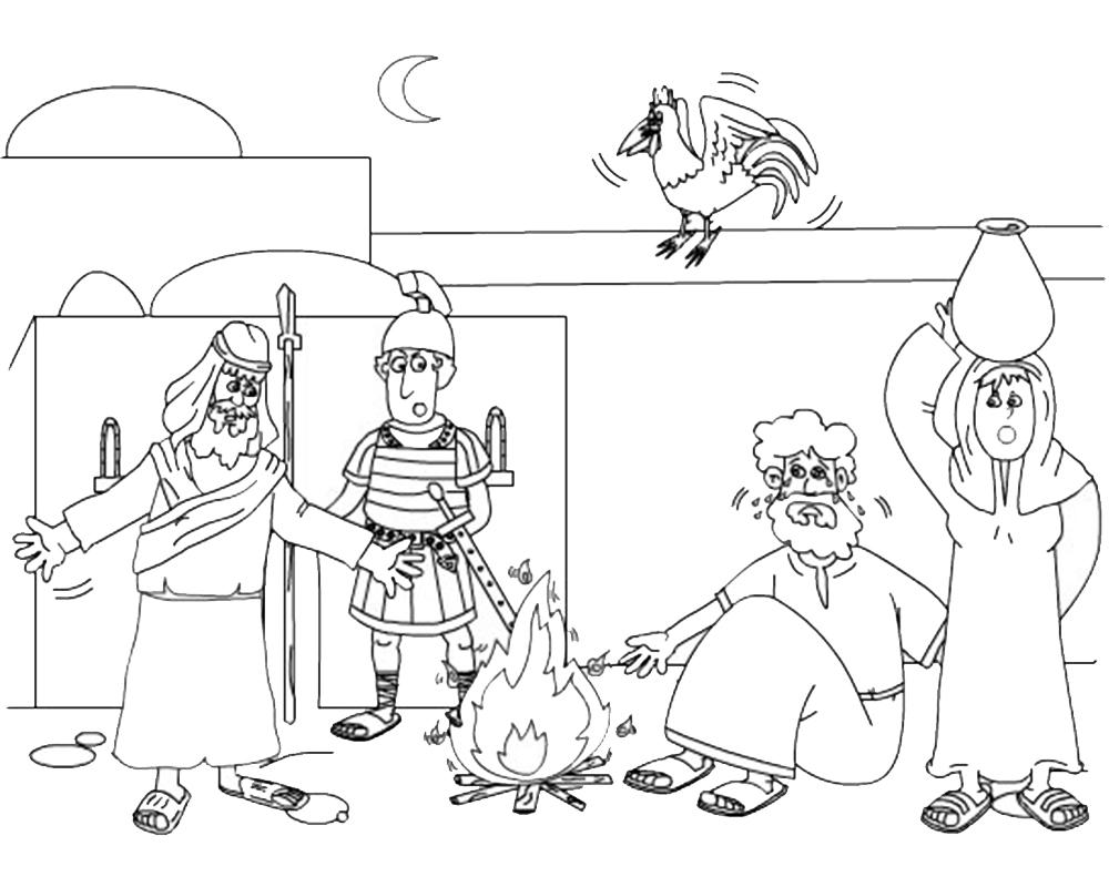 Dibujos de Semana Santa para pintar la negación de Pedro