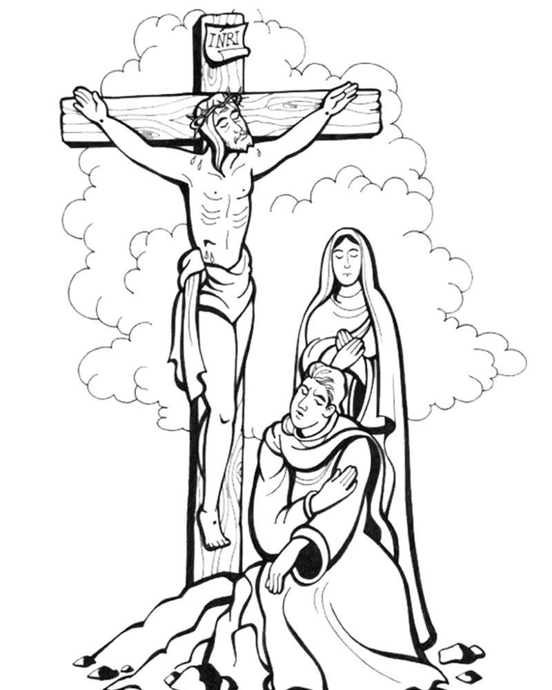 Imagen del dibujo de la crucificcion de Jesus para colorear