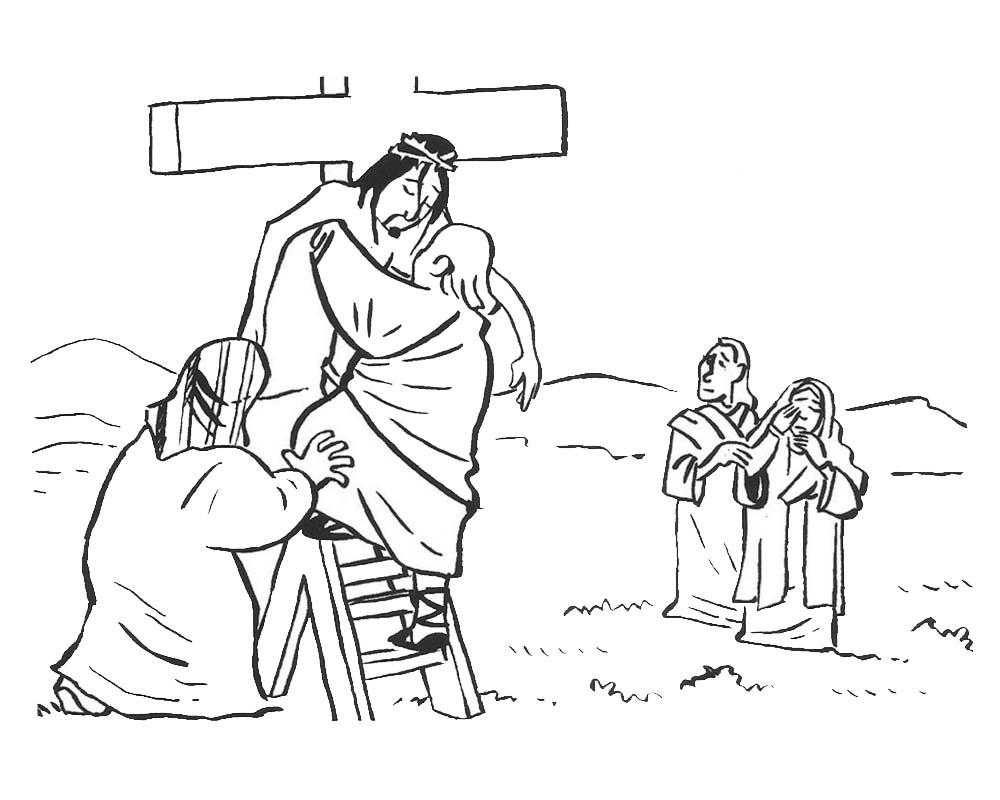 Imagenes de Jesus bajandolo de la Cruz para colorear