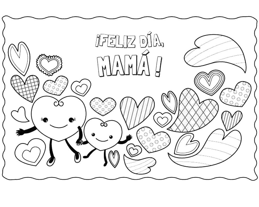 Dibujos de corazones para colorear feliz día mamá