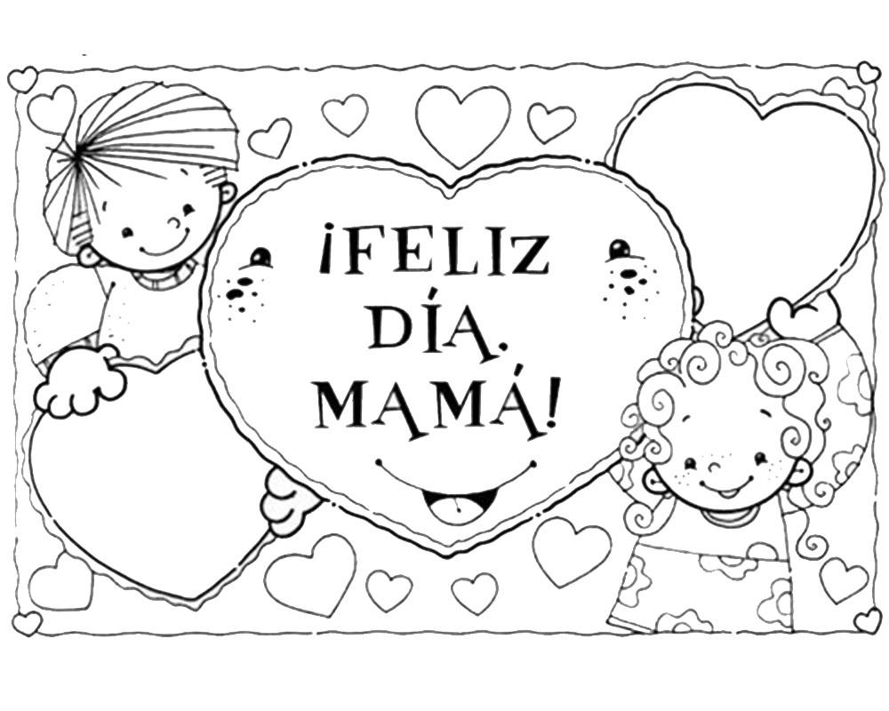 Dibujos infantiles feliz día mamá para pintar