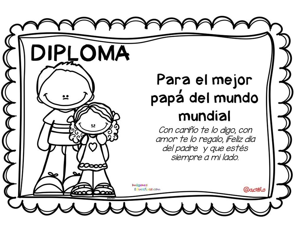 Dibujos Del Dia Del Padre Coloreados: Imagenes De Diploma Para Pintar Y Regalar A La Mejor Maestra