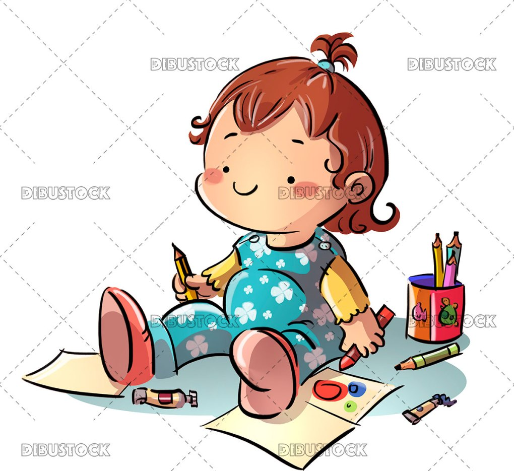 Baby drawing sitting on the floor