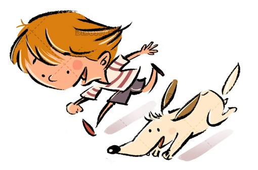 Child running with his dog