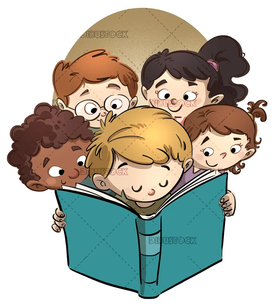 Faces of children reading
