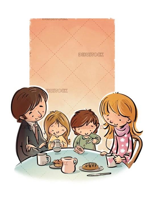 Family eating or having breakfast