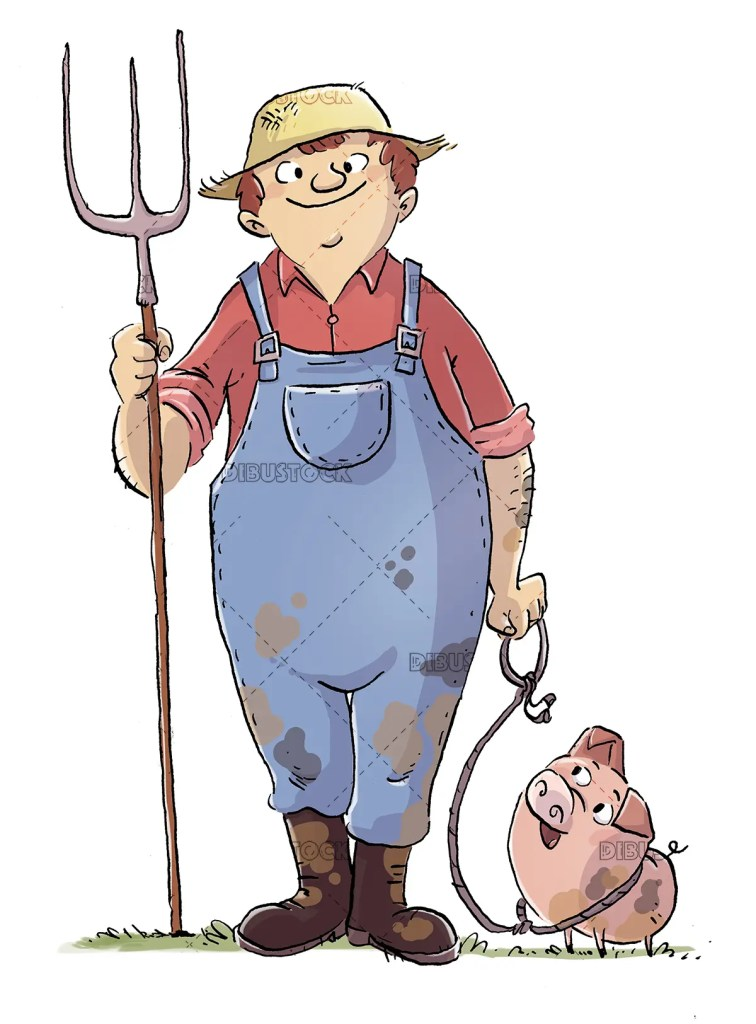 Farmer with his pig