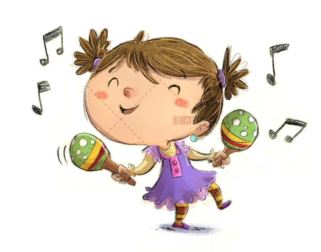 Girl dancing with maracas