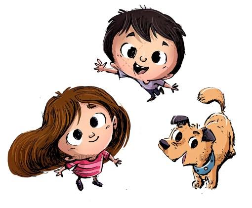 Happy children with their dog