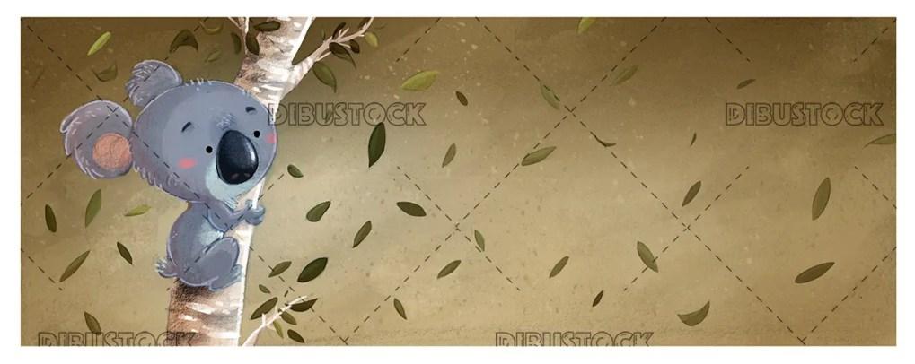 Koala en un arbol con fondo de hojas