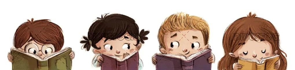 children reading happy books