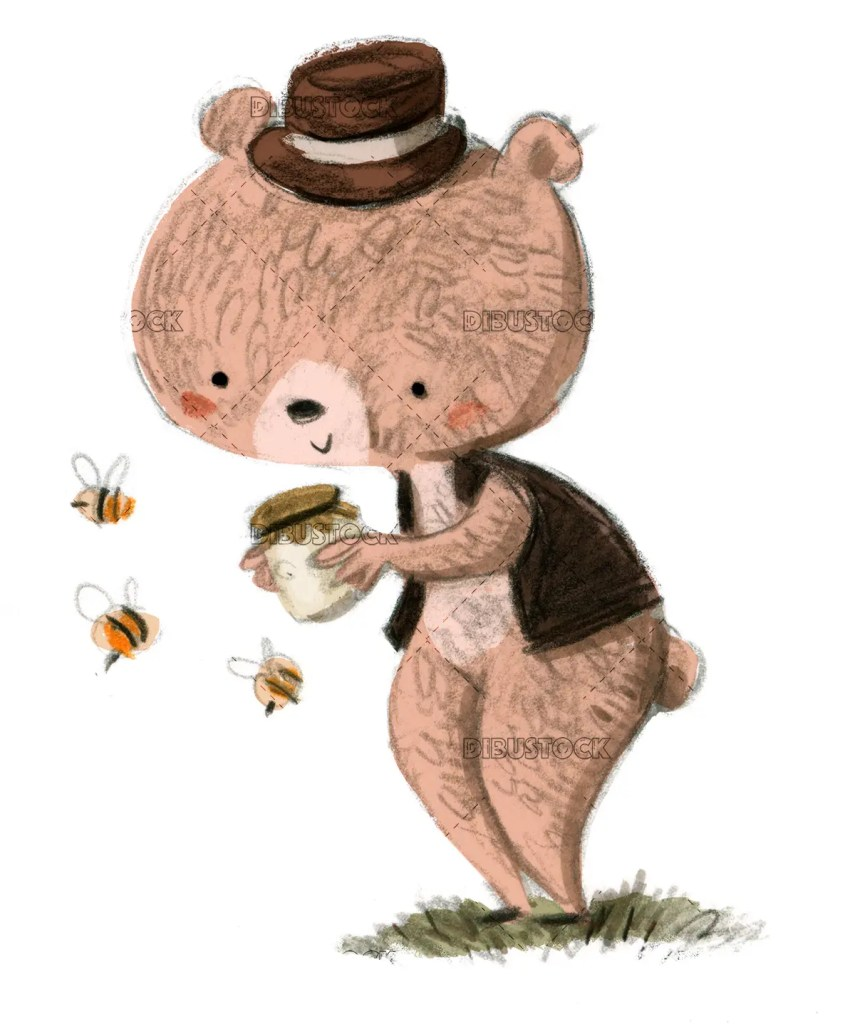 Bear with honey and bees