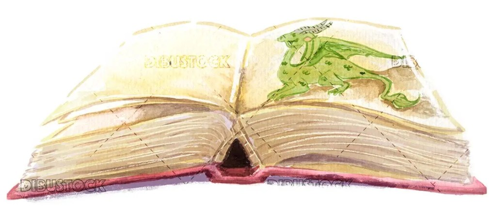 Book with dragon drawing