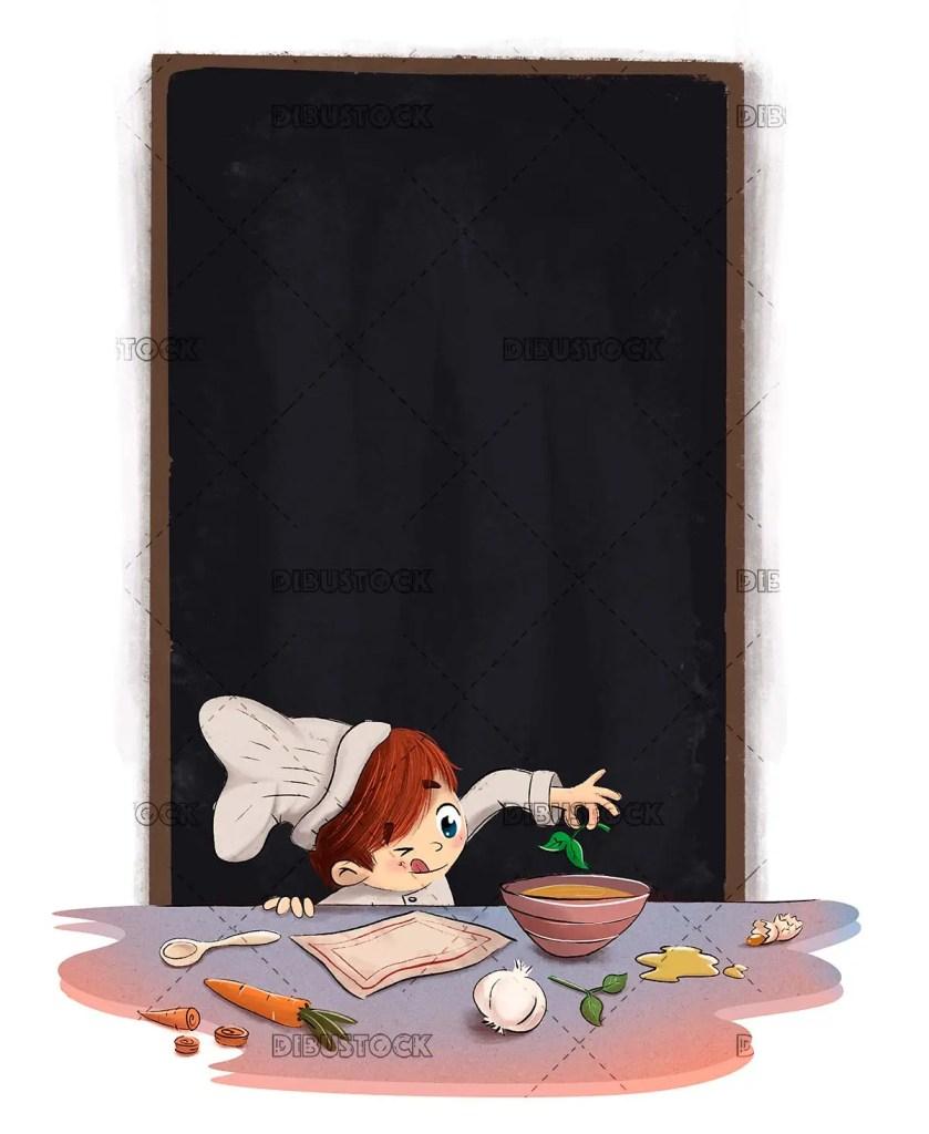 Boy cooking preparing food