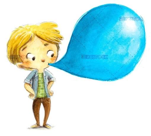 Boy eating bubble gum