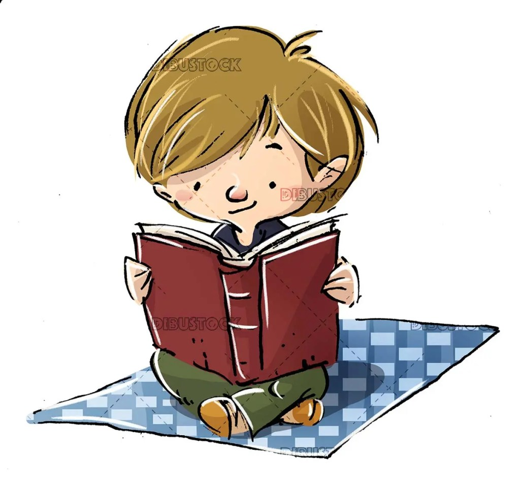 Boy reading a book white background