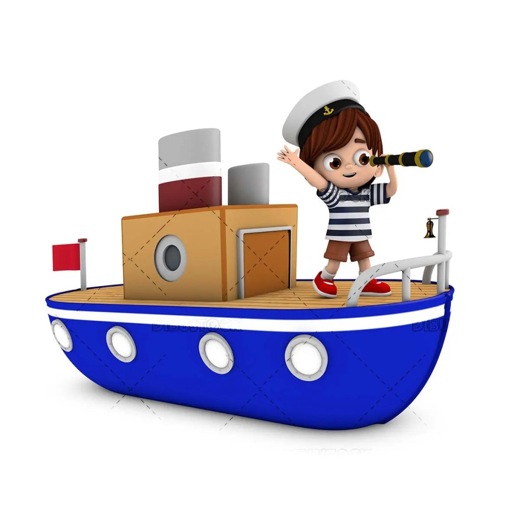 Boy riding a boat looking through a spyglass