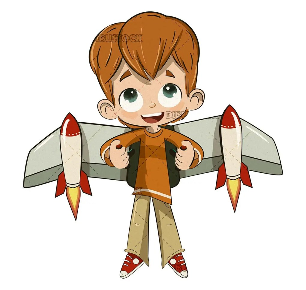 Boy with a backpack with flying rockets