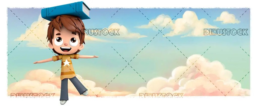 Boy with a book with background