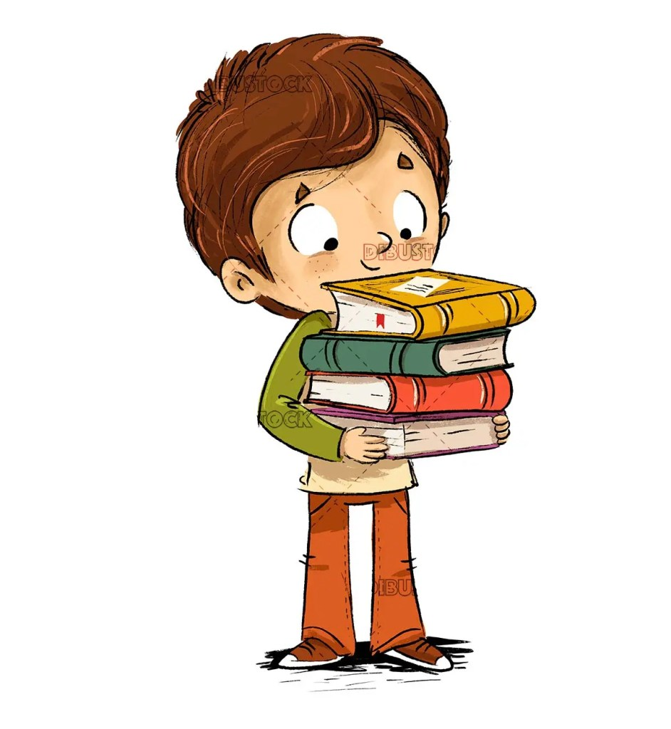 Boy with lots of books in hands